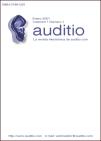 Portada Auditio; logotipo es una oreja azul, auditio en minusculas