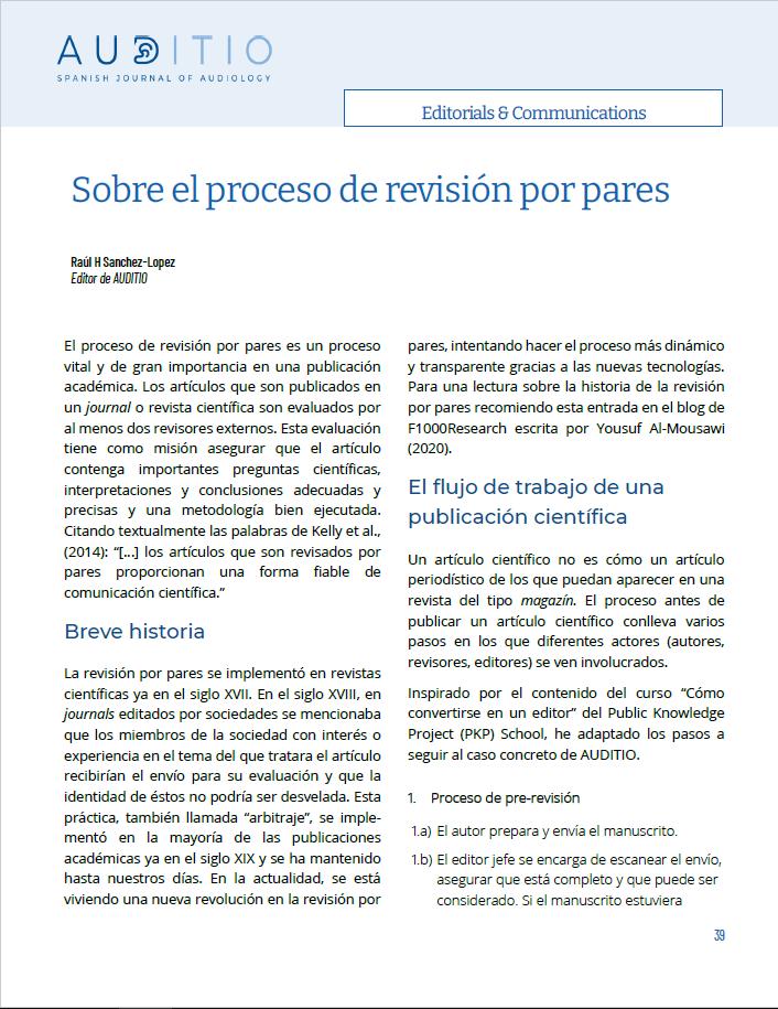 Sobre el proceso de revision por pares